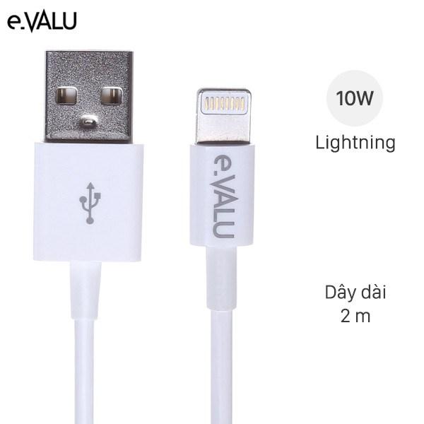 Cáp Lightning 2 m e.VALU AL01-2000 Trắng