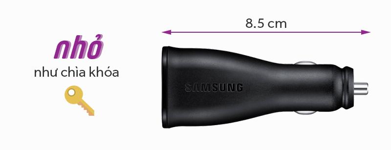 Sạc xe hơi 2 cổng 2A kèm cáp Micro Samsung LN920 - Thiết kế sạc gọn nhẹ, chỉ vừa bằng chiếc chìa khóa