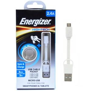 Cáp micro USB 8 cm Energizer C21UBMCAWH4 màu trắng