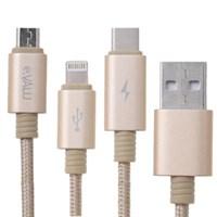ខ្សែសាកក្បាលបី Lightning Type C Micro 1m eValu Spanker B