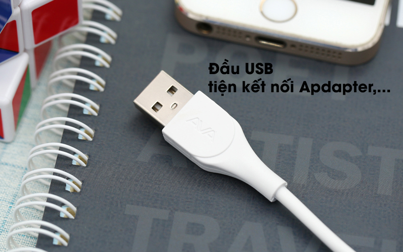 Cáp Lightning 2m AVA U-Shape Trắng đầu usb kết nối với adapter