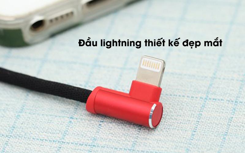 Cáp Lightning 1m Xmobile L-bending Đen đầu lightning kết nối với ipad
