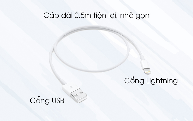 Cáp Lightning 0.5m Apple ME291 trắng nhỏ gọn và tiện lợi