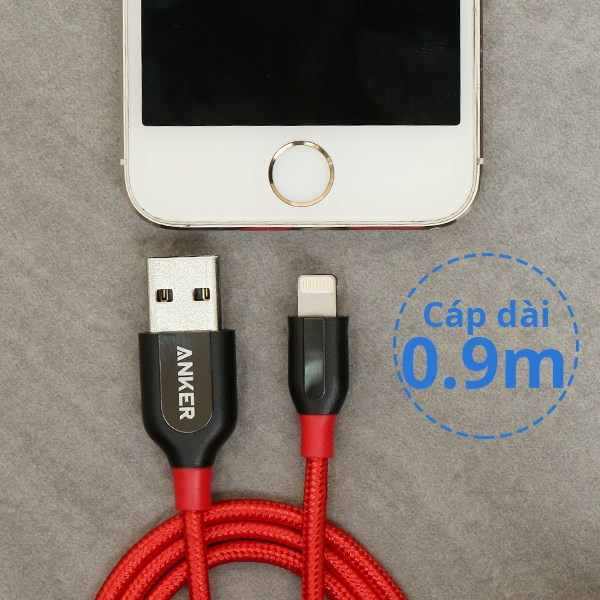 Cáp Lightning MFI 0.9m Anker A8121xx2 Đỏ