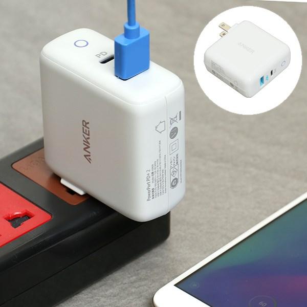Adapter sạc 2 cổng USB 2.4A Type-C PD 3A Anker A2626 Trắng