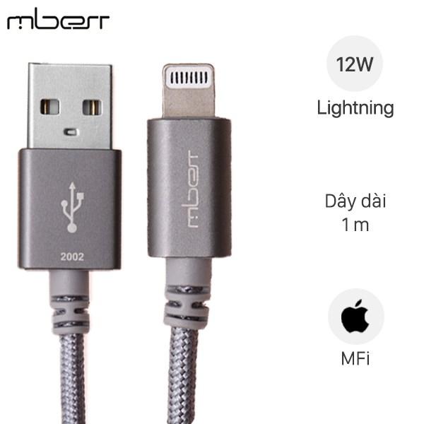 Cáp Lightning MFI 1 m Mbest DS286-WB Xám