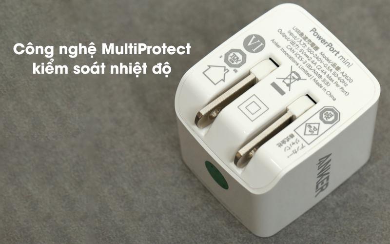Adapter sạc 2.4A Dual Anker A2620 Trắng có khả năng kiểm soát nhiệt độ tốt