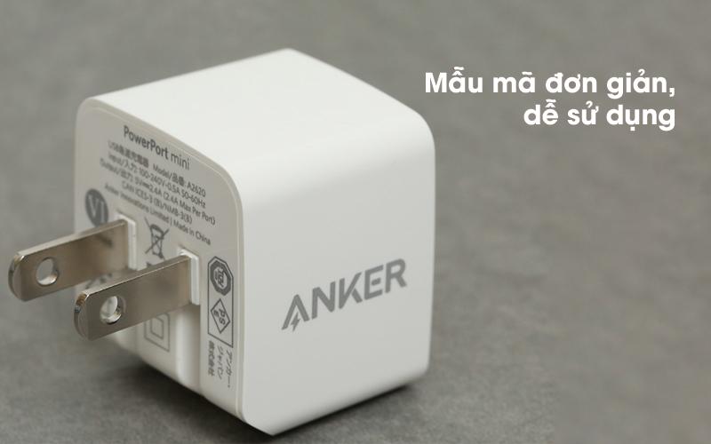 Adapter sạc 2.4A Dual Anker A2620 Trắng có thiết kế đơn giản