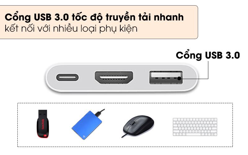 Sử dụng cổng USB 3.0 với tốc độ xử lý nhanh chóng - Adapter chuyển đổi Type C sang HDMI/Type C/USB Apple MUF82 Trắng