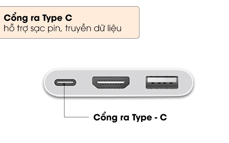 Cổng ra Type-C hỗ trợ sạc pin truyền dữ liệu - Adapter chuyển đổi Type C sang HDMI/Type C/USB Apple MUF82 Trắng
