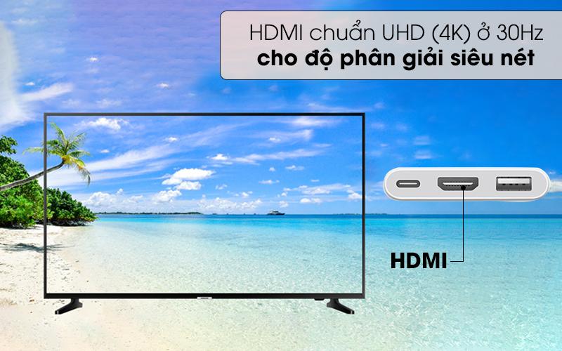 HDMI chuẩn UHD(4K) 30Hz độ phân giải siêu nét - Adapter chuyển đổi Type C sang HDMI/Type C/USB Apple MUF82 Trắng