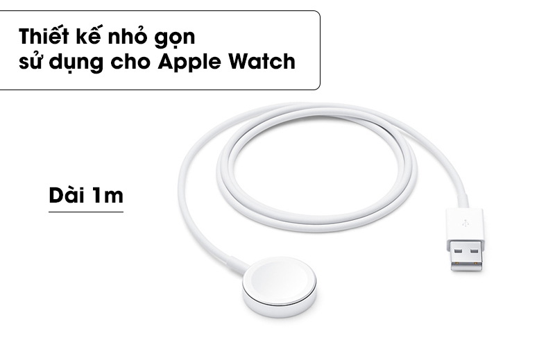 Thiết kế nhỏ gọn, dễ dàng sử dụng - Cáp sạc Apple Watch Magnetic 1m Apple MX2E2 Trắng