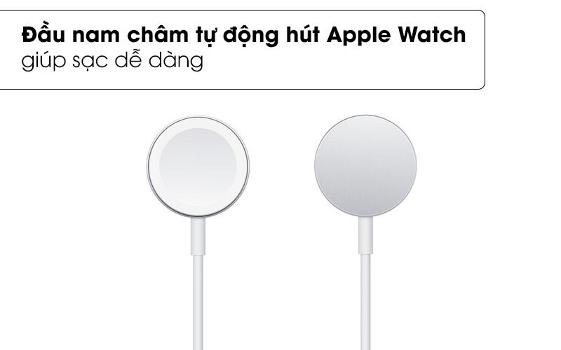 Đầu nam châm tự động hút Apple Watch giúp sạc dễ dàng - Cáp sạc Apple Watch Magnetic 1m Apple MX2E2 Trắng