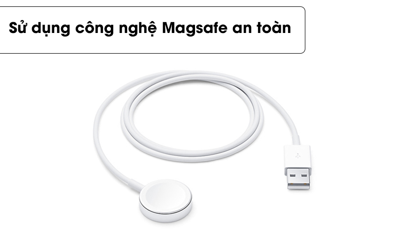Sử dụng công nghệ Magsafe an toàn - Cáp sạc Apple Watch Magnetic 0.3m Apple MX2G2 Trắng