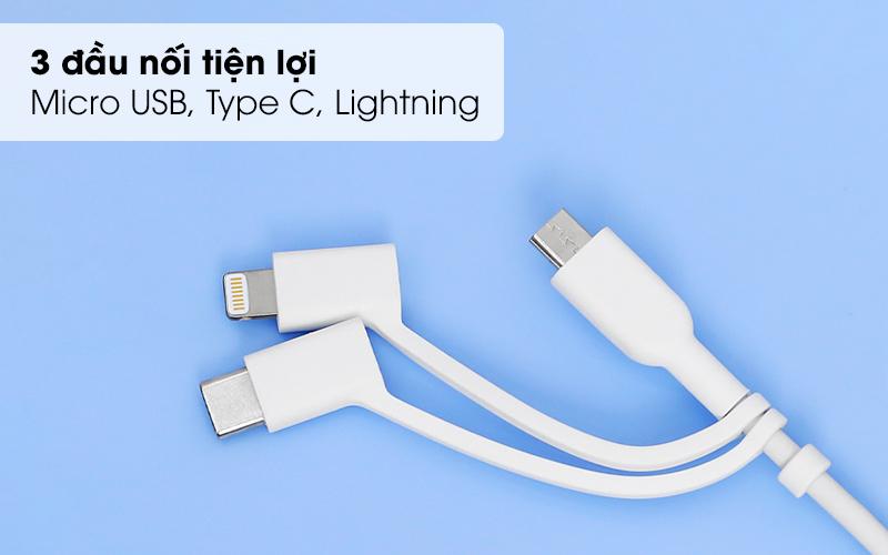 Thiết kế với 3 đầu nối có thể thay đổi được - Cáp 3 đầu Lightning Type C Micro 0.9m Anker A8436 Trắng