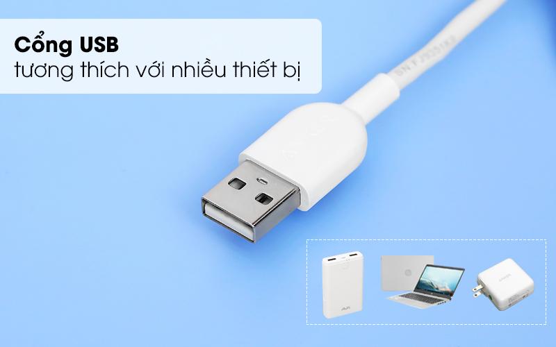Sử dụng cổng USB thông dụng tương thích với nhiều thiết bị - Cáp 3 đầu Lightning Type C Micro 0.9m Anker A8436 Trắng