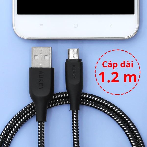 Cáp Micro USB 1.2m Aukey CB-AM1 Đen Trắng