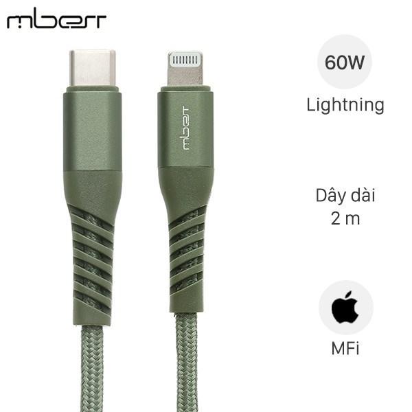 Cáp Type C - Lightning MFI 2m Mbest DS948-WB Xanh Rêu