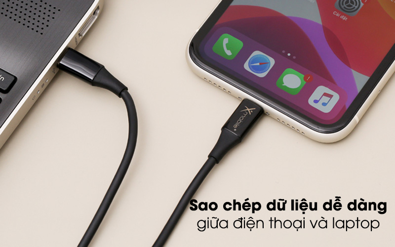 Sao chép dữ liệu dễ dàng giữa điện thoại và laptop - Cáp Type C - Lightning 2m Xmobile CL-PD01-2000 Đen