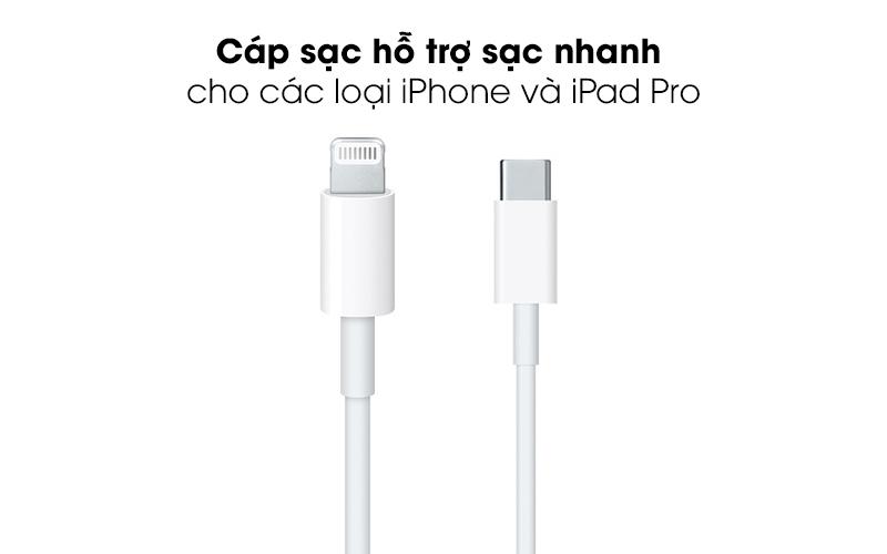Sạc nhanh cho các thiết bị được hỗ trợ - Cáp Type C- Lightning 1m Apple MX0K2 Trắng