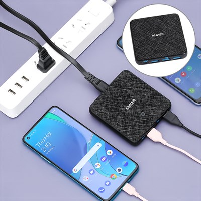 Adapter sạc 4 cổng USB Type C PD 65W Anker PowerPort Atom III Slim A2045 Đen