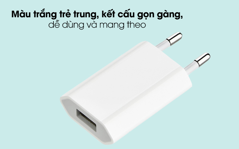 Adapter Sạc 5W dùng cho Iphone/Ipad/Ipod Apple MGN13 Trắng - Màu trắng trẻ trung