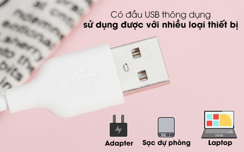 Cáp Micro 1m AVA DR-M01 Trắng - Đầu USB