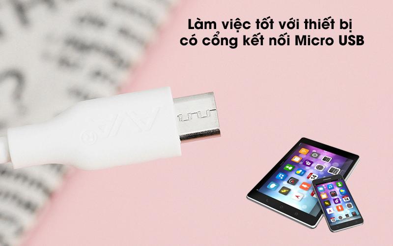 Cáp Micro 1m AVA DR-M01 Trắng - Đầu ra Micro USB