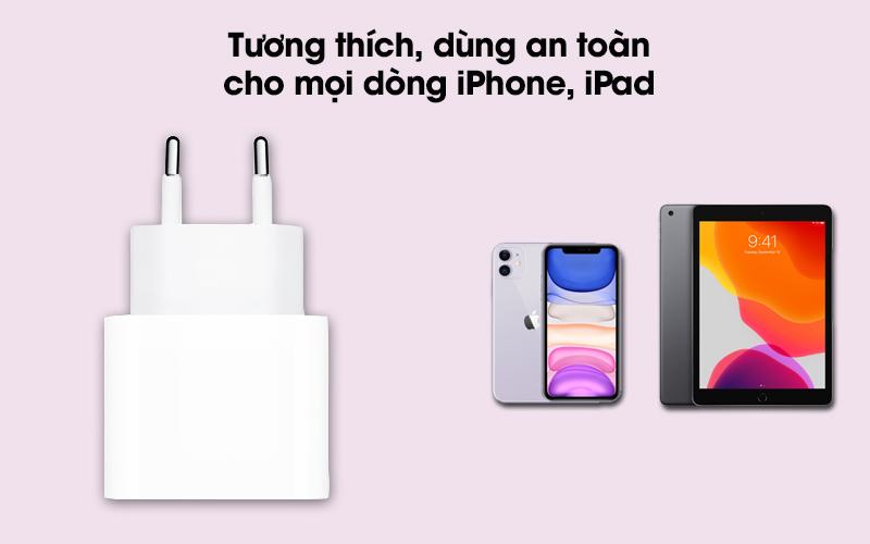 Adapter Sạc Type C 20W dùng cho iPhone/iPad Apple MHJE3 Trắng - Apple MHJE3 phù hợp 100% với các dòng iPhone, iPad