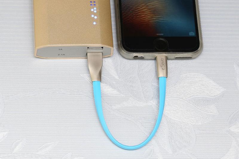 Dây cáp Lightning 0.2 m eSaver Gate-0759P - Sạc pin cho điện thoại từ pin sạc dự phòng