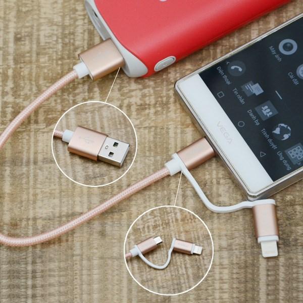 Dây cáp 2 in 1 Lightning và Micro USB 0.2 m eValu LTD-02