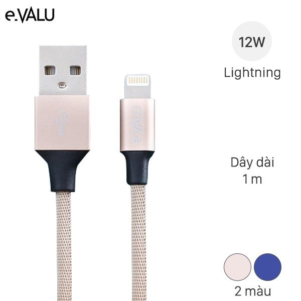 Dây cáp Lightning 1 m e.VALU LTL-01