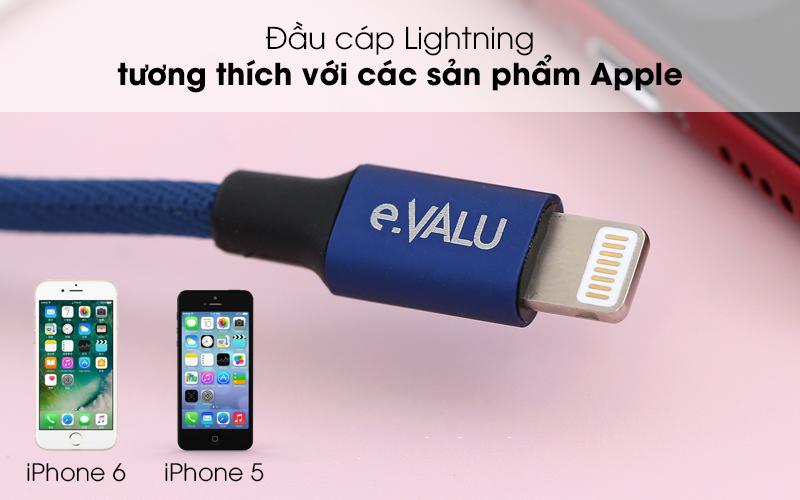 Tương thích với các sp của Apple - Dây cáp Lightning 2 m e.VALU LTL-04