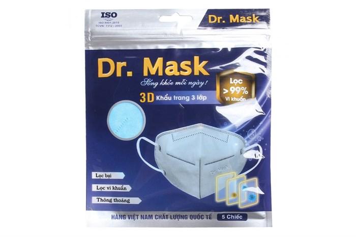 Khẩu trang kháng khuẩn Dr.Mask 3D 3 lớp gói 5 cái - giao màu ngẫu nhiên 1