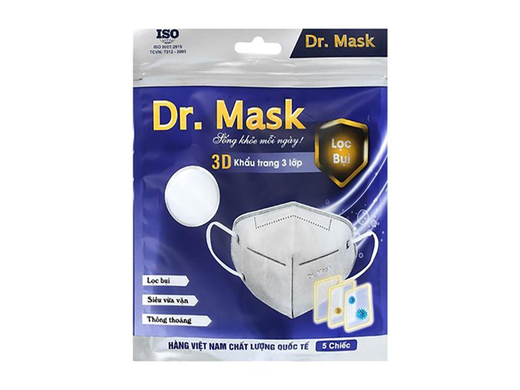 Khẩu trang kháng khuẩn Dr.Mask 3D 3 lớp gói 5 cái - giao màu ngẫu nhiên 2