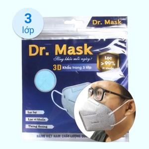 Khẩu trang kháng khuẩn Dr.Mask 3D 3 lớp gói 5 cái - giao màu ngẫu nhiên
