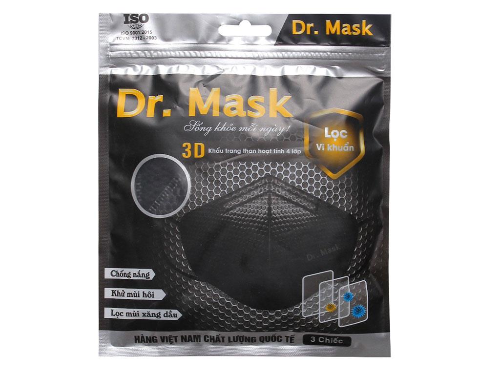 Khẩu trang than hoạt tính Dr.Mask 3D 4 lớp gói 3 cái 1