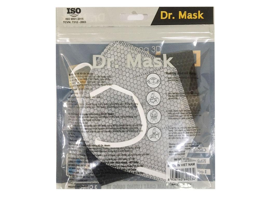 Khẩu trang than hoạt tính Dr.Mask 3D 4 lớp gói 3 cái 2