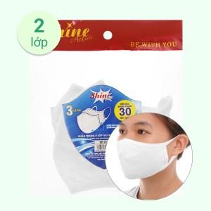 Khẩu trang vải kháng khuẩn Shine Active 2 lớp gói 3 cái