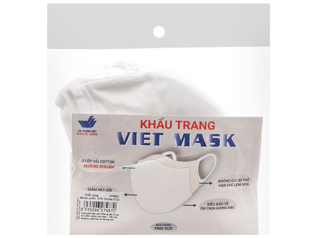 Khẩu trang vải kháng khuẩn Viet Mask 2 lớp gói 3 cái 8