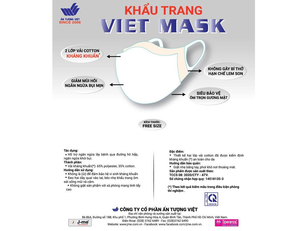 Khẩu trang vải kháng khuẩn Viet Mask 2 lớp gói 3 cái 1