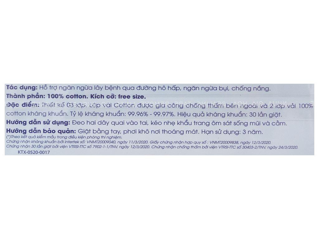 Khẩu trang vải kháng khuẩn Anh Khoa 3 lớp gói 1 cái (giao màu ngẫu nhiên) 4