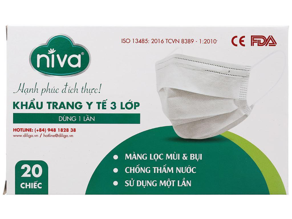 Khẩu trang y tế Niva 3 lớp hộp 20 cái - giao màu ngẫu nhiên 1