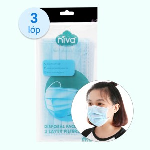 Khẩu trang kháng khuẩn Niva 3 lớp gói 10 cái - giao màu ngẫu nhiên