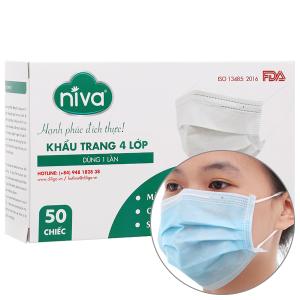 Khẩu trang kháng khuẩn Niva 4 lớp hộp 50 cái - giao màu ngẫu nhiên