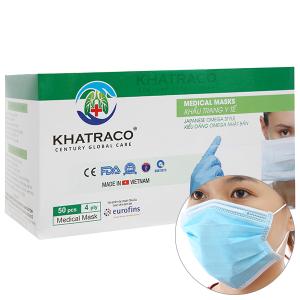 Khẩu trang y tế KHATRACO 4 lớp hộp 50 cái - giao màu ngẫu nhiên