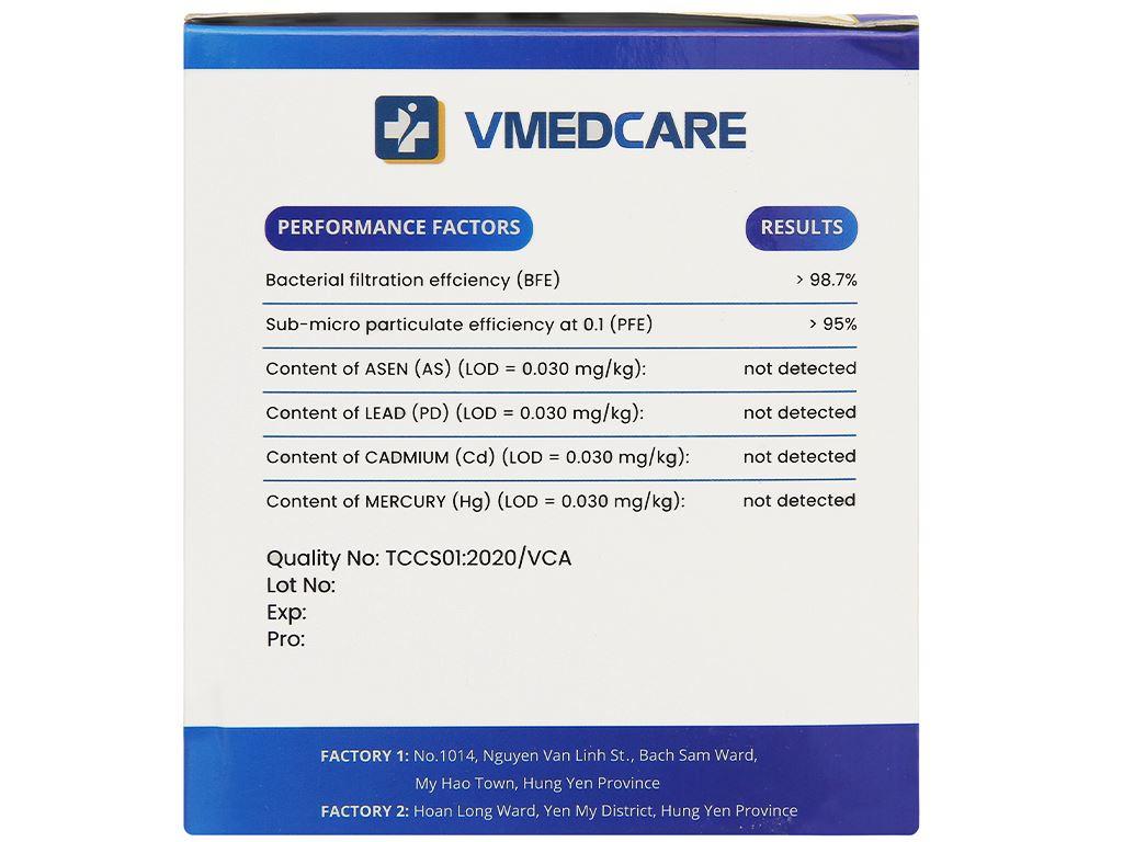 Khẩu trang y tế VMEDCARE 4 lớp hộp 50 cái 3