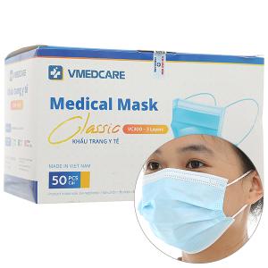 Khẩu trang y tế VMEDCARE 3 lớp hộp 50 cái