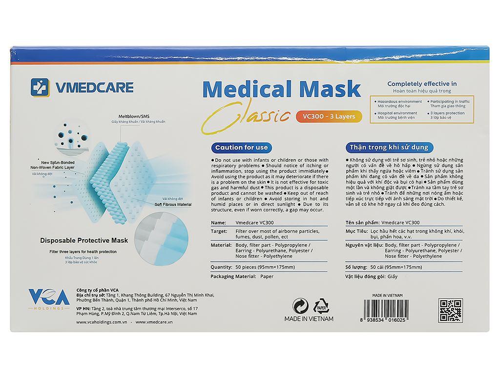 Khẩu trang y tế VMEDCARE 3 lớp hộp 50 cái 2