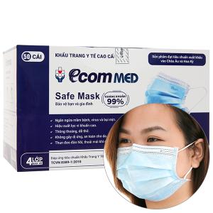 Khẩu trang Ecom MED Safe Mask 4 lớp hộp 50 cái